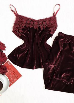 Бордовый комплект, майка и штаны, бордо с тёмным кружевом
