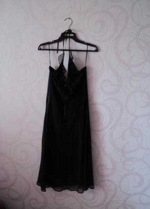 Черное платье с оборкой, коктейльное платье с декольте, платье...
