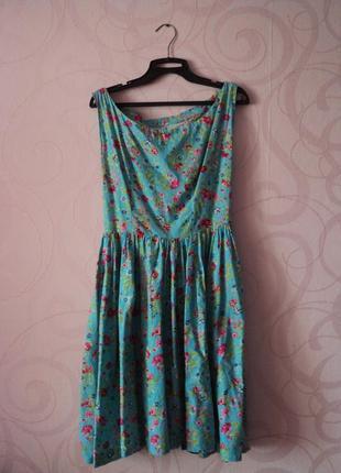 Платье с цветами, летнее платье, винтаж, ретро, стиль 50-х, вы...