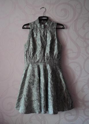 Серебристое платье с пышной юбкой, коктейльное платье с открыт...