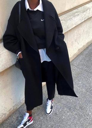 Пальто, кашемировое пальто, черного пальто, длинное пальто