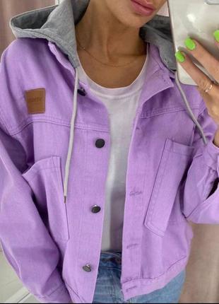 Джинсовая куртка с капюшоном , джинсовый пиджак  с капюшоном