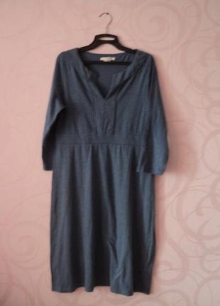Синее платье-туника, трикотаж, платье на каждый день, платье д...