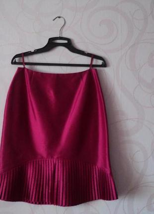 Розовая юбка-плиссе на 1 сентября, винтаж, вечерняя юбка миди,...