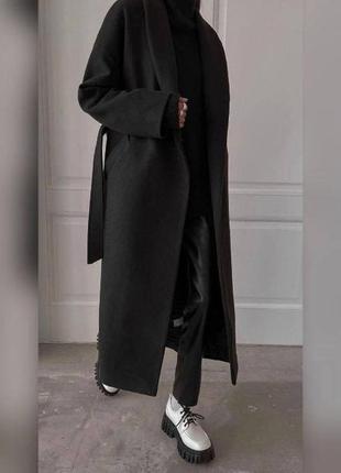 Кашемировое пальто длиное черного цвета ,пальто оверсайз