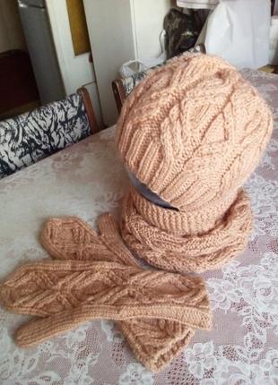 Комплект ′ ирина′ вязаная шапка, снуд, варежки