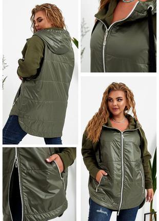 Тепленькая куртка комбинированная ветровка женская на осень пл...