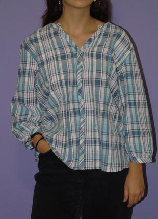 Рубашка в клетку оверсайз с объемными рукавами