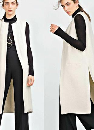 Стильное пальто-жилетка, длинная безрукавка шерсть zara размер...