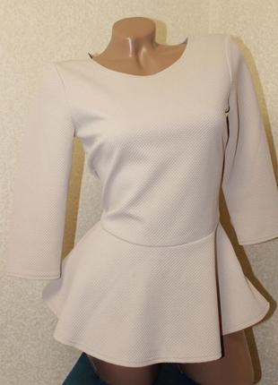 Кофта джемпер блуза с баской ткань вафелька бежевая бренд next