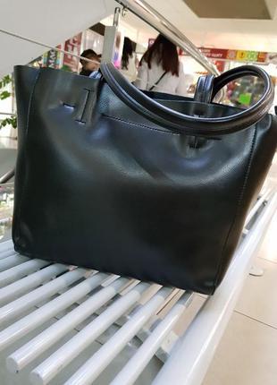 Кожаная сумка из натуральной кожи, черная