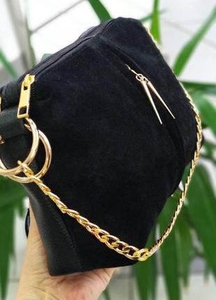 Красивая сумка клатч черная, натуральный замш + эко кожа