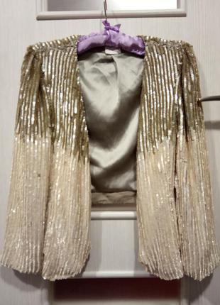 Шикарный золотой праздничный пиджак 36р