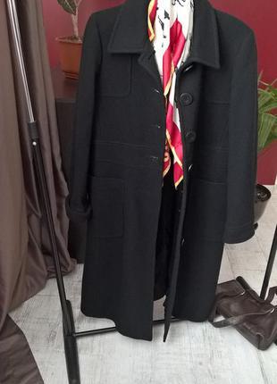 Буклированное черное макси пальто от hennes(h&m)/длинное/с кар...