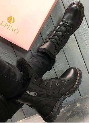 Ботинки в спортивном стиле на меху alpino натуральная кожа, зи...