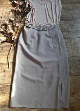 Серая классическая юбка для офиса/миди/длина ниже колена-l-ка