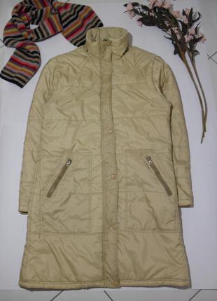 Бежевая куртка длинная,пальто на синтепоне/ демисезон с кулиск...