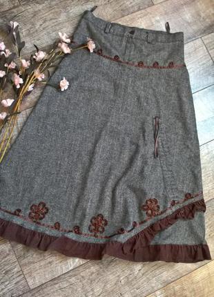 Распродажа!!!теплая шерстяная миди юбка/серая/коричневая/фасон...