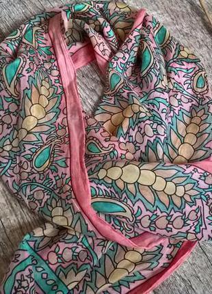 Невысомая шелковая  шаль/легкая/летняя/нежная/розовая с мятным