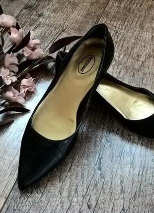 Туфли,балетки,лодочки на низком каблуке от graceland/натур кож...