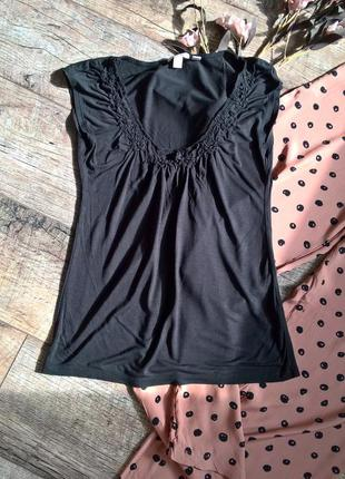 Черная майка /футболка из вискозы от esprit -s- m
