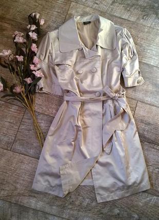 Атласное платье под тренч с поясом в бежевом цвете от gate-м-к...