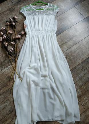 Длинное новое белое платье макси,миди с ажурным верхом и пышны...
