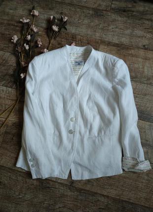 Базовый белый  блейзер,жакет,пиджак от white label из льна-xxl-ка