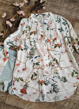 Летняя легкая блуза от zara из вискозы белая с принтом-s