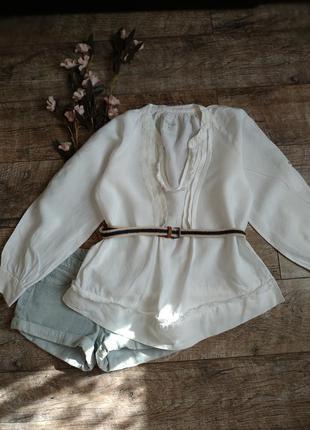 Объемная леновая блуза туника из 100% льна белая с длинным рук...