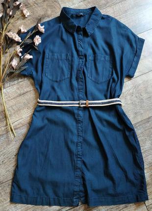 Платье рубашка из лиоцелла-под деним прямое и легкое синее.
