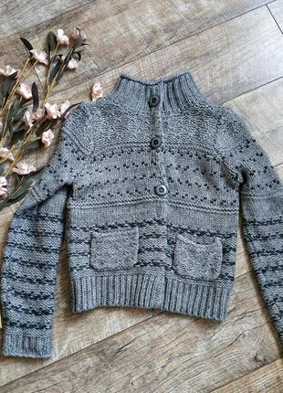 Серый теплый свитер от marks&spencer/кофта грубой вязки,шерсть...