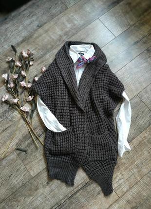 Теплый серый жилет, безрукавка,накидка объемной вязки от strok...