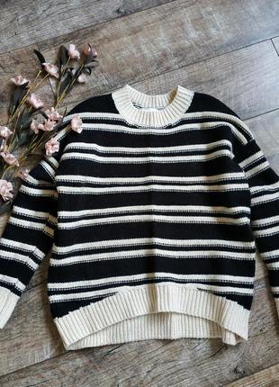 Объемный свитер, тёплая кофта от h&m/черная с бежевым/шерсть о...