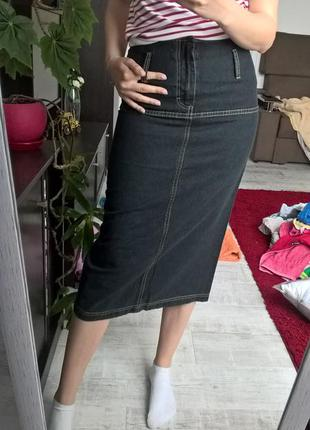 Стильная брендовая новая юбка джинсовая миди s-ка