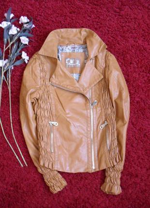 Куртка кожа кожзам коричневая bangjuji s, xs