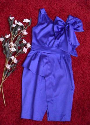 Мега крутое платье филетового цвета атласное spotlight(warehou...