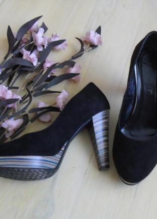 Польские туфли кожа,замш черные bestbut-39р