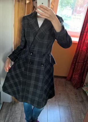 Oasis-s-необыкновенно пальто в клетку с баской на поясе,шерстя...