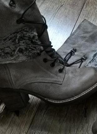 Ботинки полусапожки кожа серые италия-37р