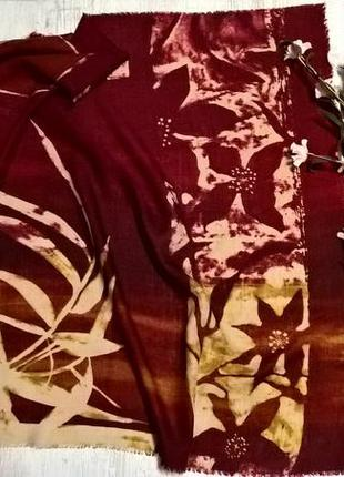 Шерстяной платок/хустка-бордовый с бежевым-италия