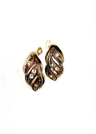 Ажурные серьги italina под золото с хрустальными кристаллами, ...