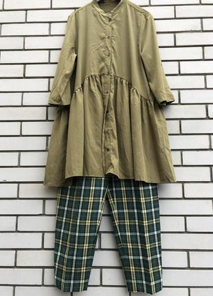 Блузка,рубаха с баской,туника,платье,этно бохо стиль, хаки