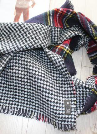 Теплый стильный шарф в клетку двухсторонний