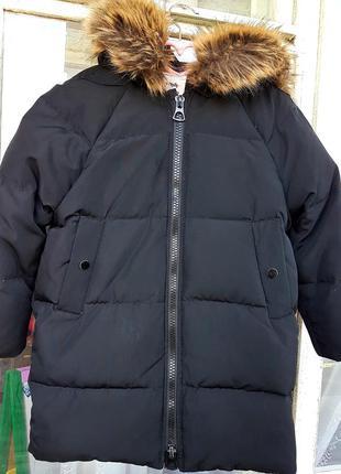 Пуховик zara дутая куртка пуфер с мехом