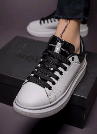 Кожанные кросовки Alexander McQueen White&Black