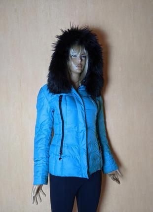 🔥🔥🔥 куртка пуховик бирюзовая  с меховым воротником зимняя тепл...