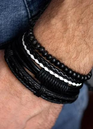 Комплект кожаных мужских браслетов, мужской браслет