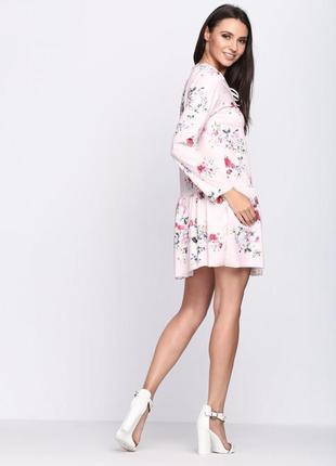 Нюдовое платье в цветочный принт