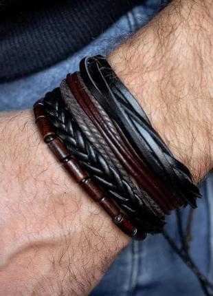 Комплект оригинальных кожаных браслетов